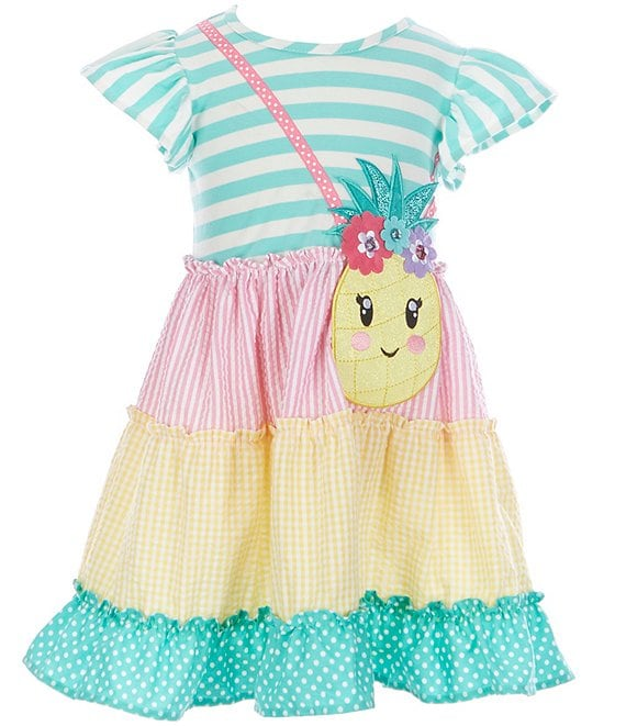 Color:Mint - Image 1 - Little Girls 2T-6X Stripe/Tiered Fit-And-Flare Dress