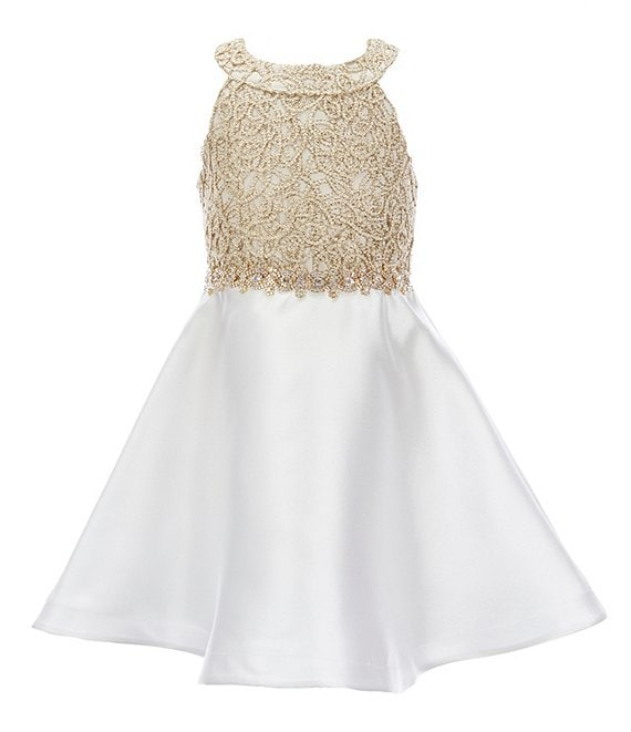 Color:White - Image 1 - Little Girls 4-6X Bow-Back Embellished/Mikado Fit-And-Flare Dress