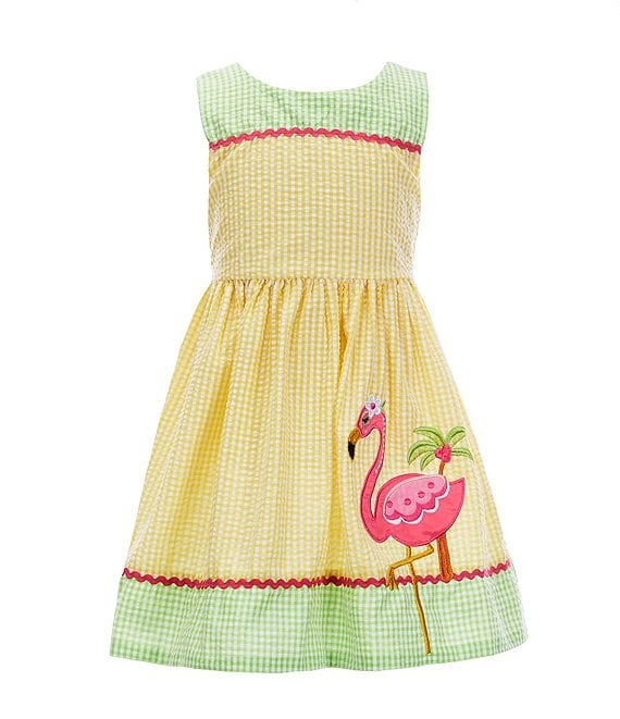 Color:Yellow - Image 1 - Little Girls 4-6X Flamingo Gingham Seersucker A-Line Dress