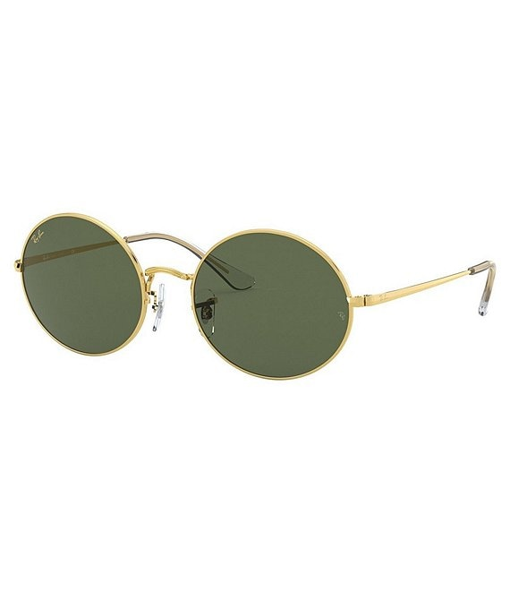 Color:Gold Green - Image 1 - Icons Legend Gold/Green Oval Frame Sunglasses
