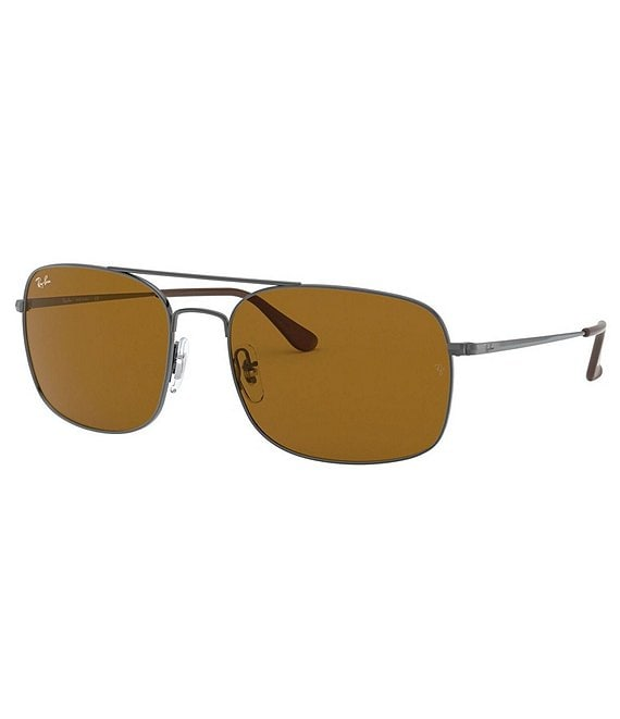 Color:Gunmetal Brown - Image 1 - Minimalist Square Sunglasses