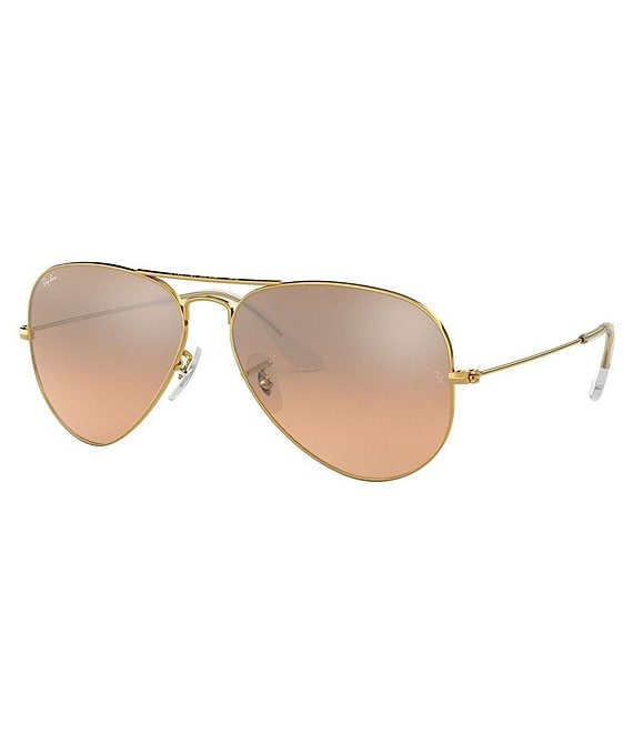 Color:Gold Pink - Image 1 - Mirrored Aviator Sunglasses