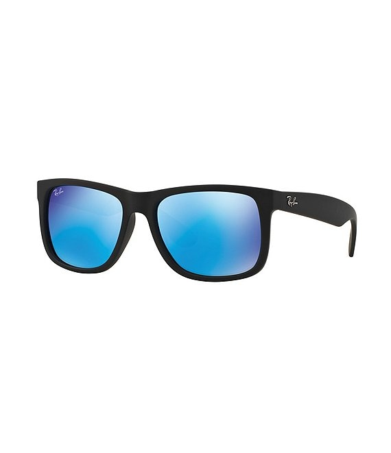 Color:Blue Flash Mirror - Image 1 - Rubber Justin UVA/UVB Protection Flash Mirror Square Sunglasses