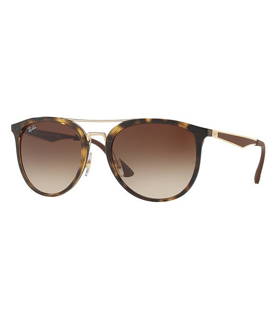 Ray-Ban Tortoise Frame Double-Brow Bar Gradient Sunglasses