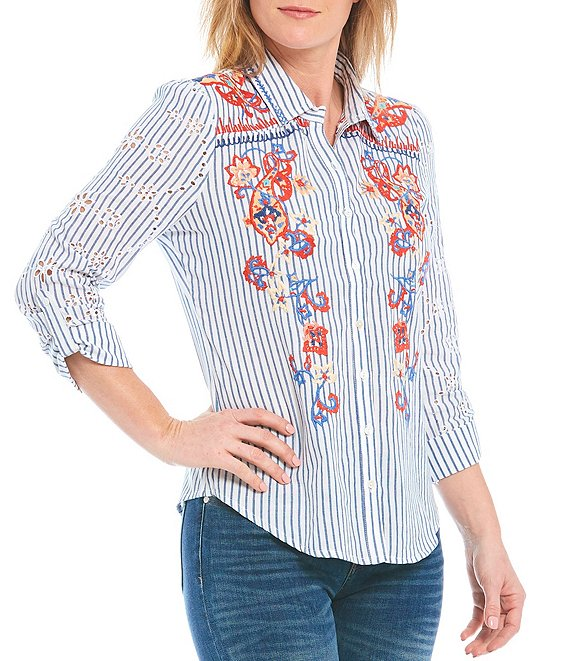Reba 3/4 Cuffed Sleeve Button Front Embroidered Eyelet Shirt