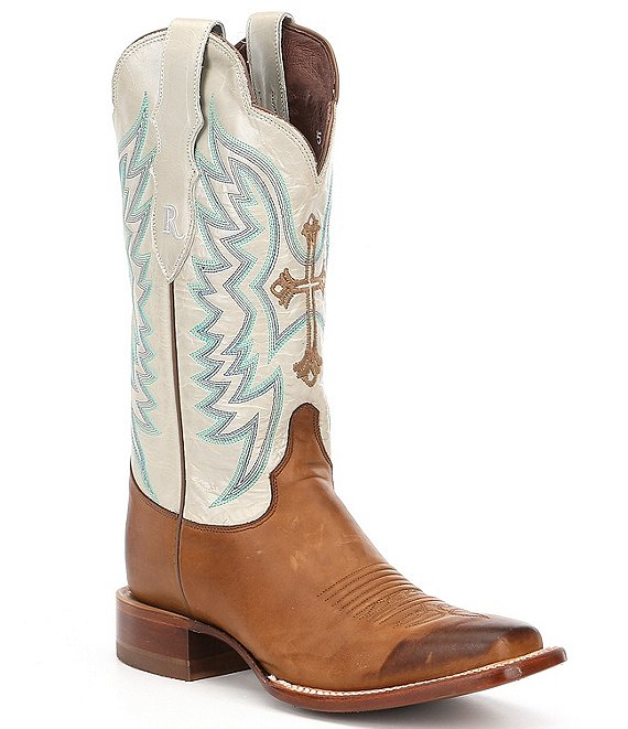 Color:Brown/White - Image 1 - by Justin Silky Cross Embroidered Western Block Heel Boots