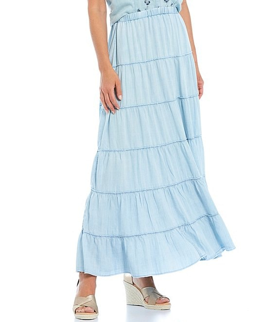 Color:Chambray - Image 1 - Chambray A-line Skirt