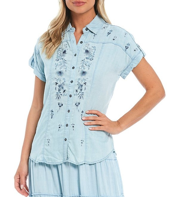 Color:Light Wash - Image 1 - Chambray Button Front Multi Color Embroidered Top