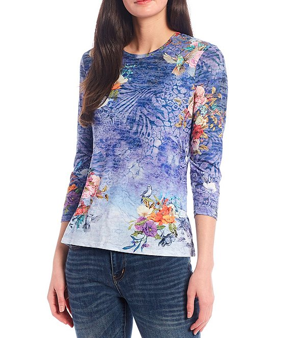 Reba Crystal Embellished Floral And Bird Print 3/4 Sleeve Burnout Jersey Knit Tee