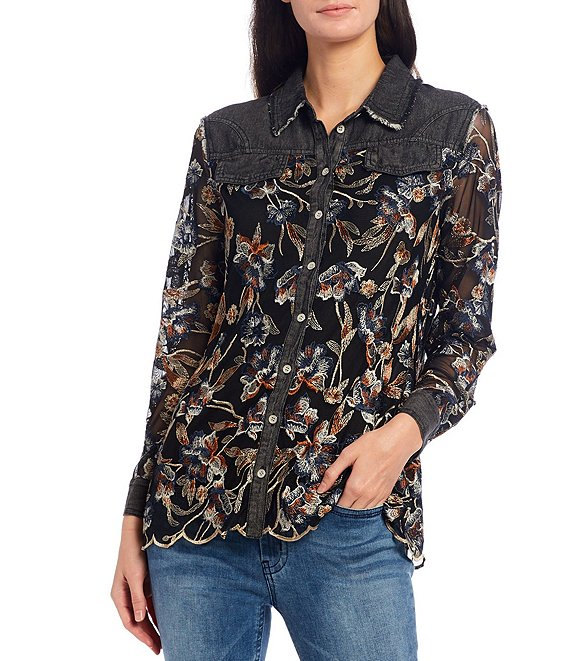 Color:Black Multi - Image 1 - Floral Embroidered Mesh & Denim Button Front Scalloped Hem Shirt