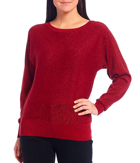 Color:Red - Image 1 - Long Dolman Sleeve Bateau Neck Metallic Jersey Sweater