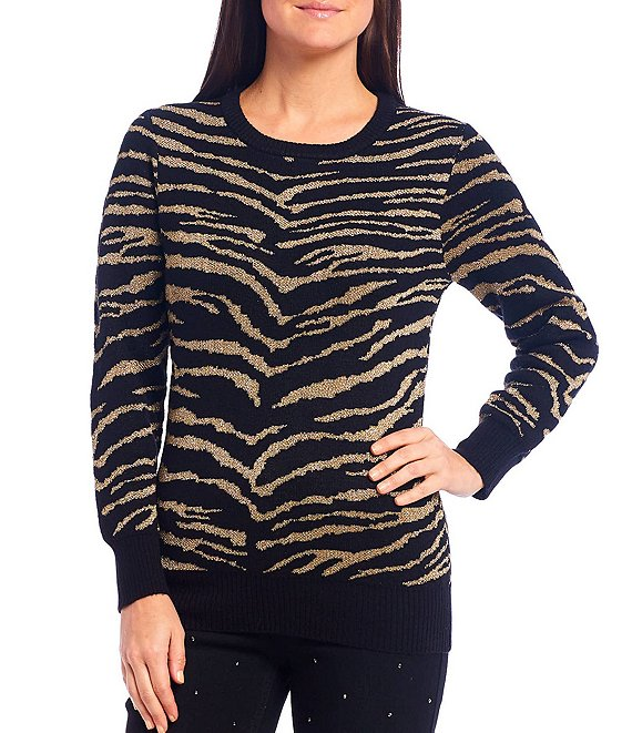 Color:Multi - Image 1 - Metallic Zebra Print Jacquard Long Sleeve Pullover Sweater