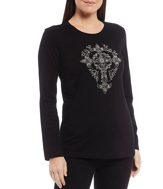Color:Black - Image 1 - Mixed Metal Beaded Cross Embellished Long Sleeve Cotton Jersey Knit Tee