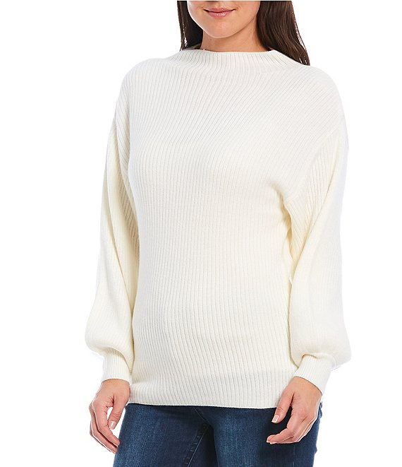 Color:Ivory - Image 1 - Mock Neck Bishop Sleeve Ribbed Pullover Sweater