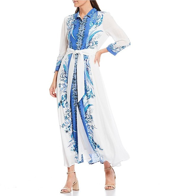 Color:Multi - Image 1 - Printed 3/4 Sleeve Tie Waist Button Front Maxi Dress