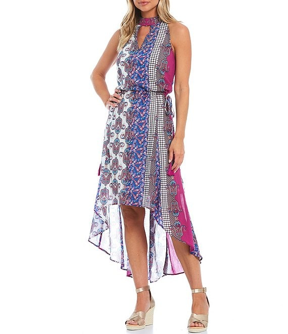 Color:Multi - Image 1 - Printed Crepe Embellished Embroidery Hi-Low Halter Dress