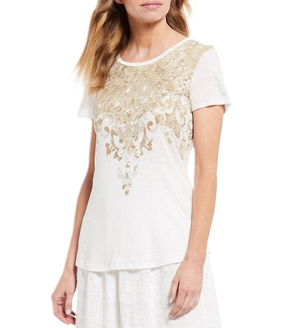 Color:Ivory - Image 1 - Rhinestone Embellished Baroque Print Short Sleeve Slub Jersey Knit Cotton Blend Tee