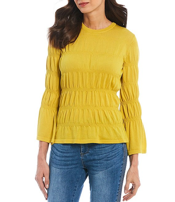 Color:Citron - Image 1 - Ruched Jersey Knit Top