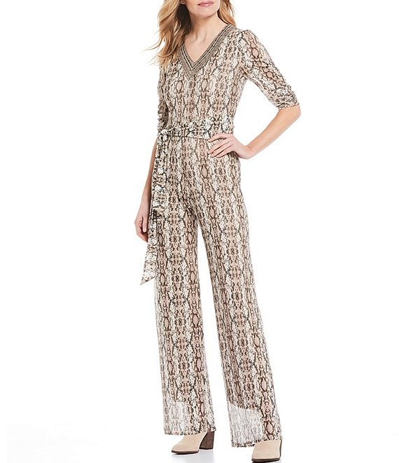 Color:Multi - Image 1 - Snake Print V-Neck 3/4 Ruched Sleeve Tie Waist Mesh Jumpsuit