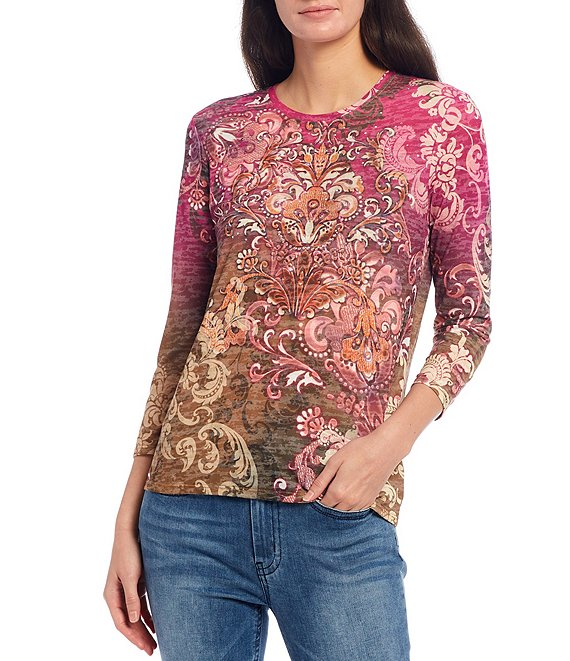 Color:Multi - Image 1 - Stud Embellished Floral Print Burnout Jersey Knit Tee