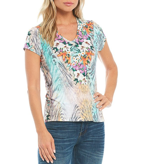Color:Multi - Image 1 - Studded Mix Print V-Neck Short Sleeve Tee