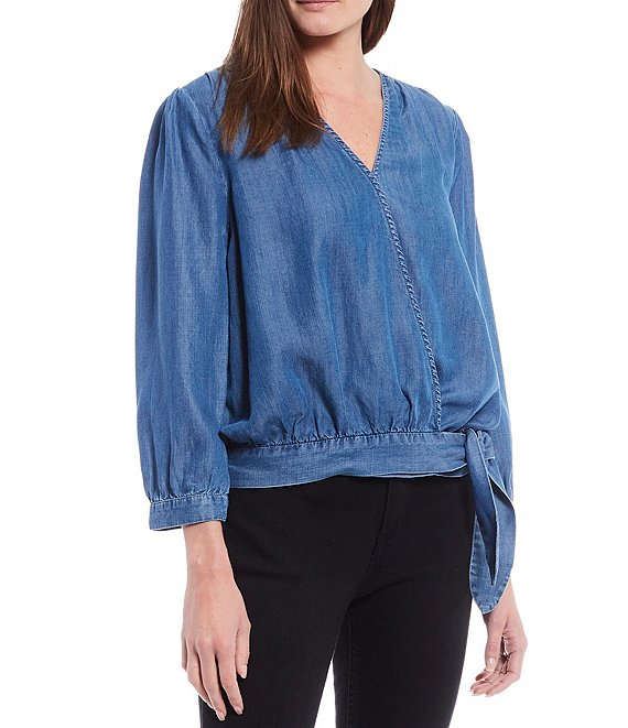 Color:Chambray - Image 1 - Surplice V-Neck Long Sleeve Faux Wrap Chambray Top