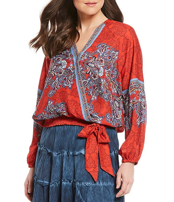Color:Multi Paisley - Image 1 - Surplice V-Neck Long Sleeve Smocked Hem Paisley Print Faux Wrap Top