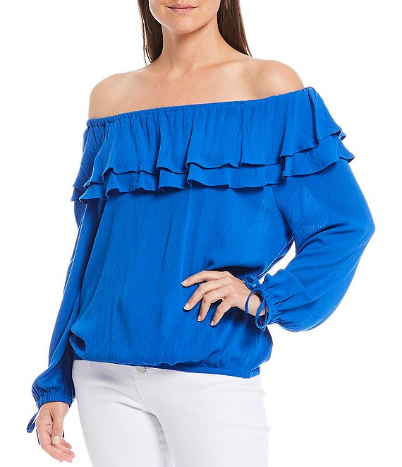 Color:Blue - Image 1 - Woven Blouson Double Ruffle Off-The-Shoulder Long Sleeve Top