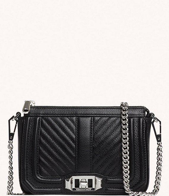 Color:Black - Image 1 - Chevron Quilted Mini Love Shoulder Bag