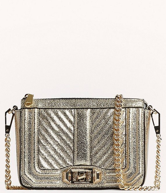 Color:Champagne - Image 1 - Chevron Quilted Mini Love Shoulder Bag