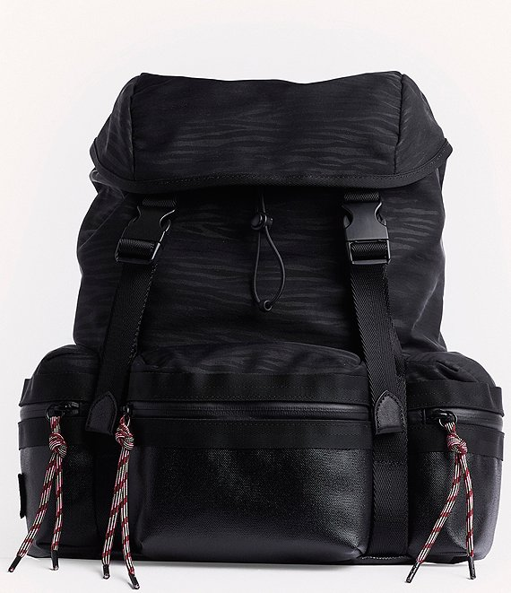 Color:Black - Image 1 - Downtown Buckle Nylon Backpack