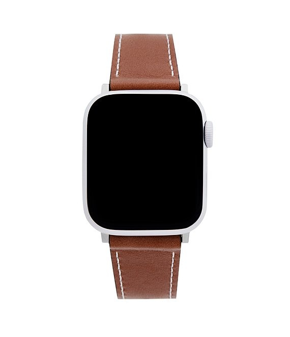 Color:Brown - Image 1 - Saddle Leather Apple Watch® Strap