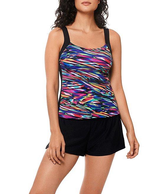 d896c61a95 ReebokGlasswork Multi Color Print Scoop Neck Tummy Control Tankini Swimsuit  Top