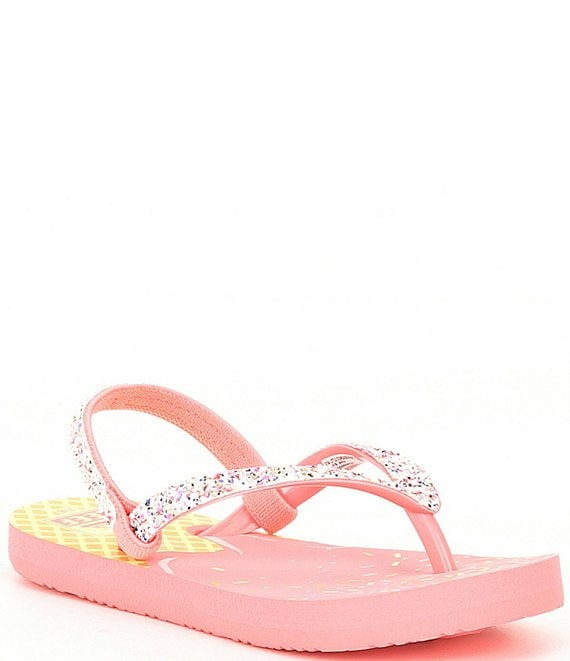 Color:Orange/Yellow Ice Cream - Image 1 - Girls' Little Stargazer Flip Flops (Infant)