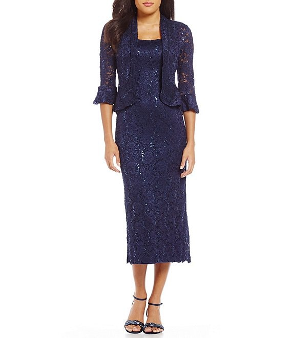 Color:Navy - Image 1 - Bell Sleeve Lace 2-Piece Midi Jacket Dress