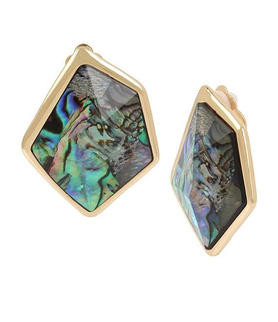 Robert Lee Morris Soho Geometric Abalone Stone Clip-On Earrings