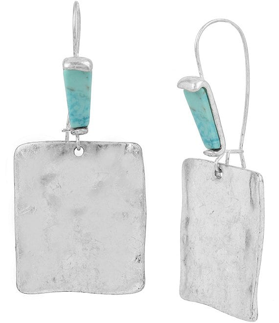 Color:Turquoise - Image 1 - Mosaic Sculptural Square Drop Earrings
