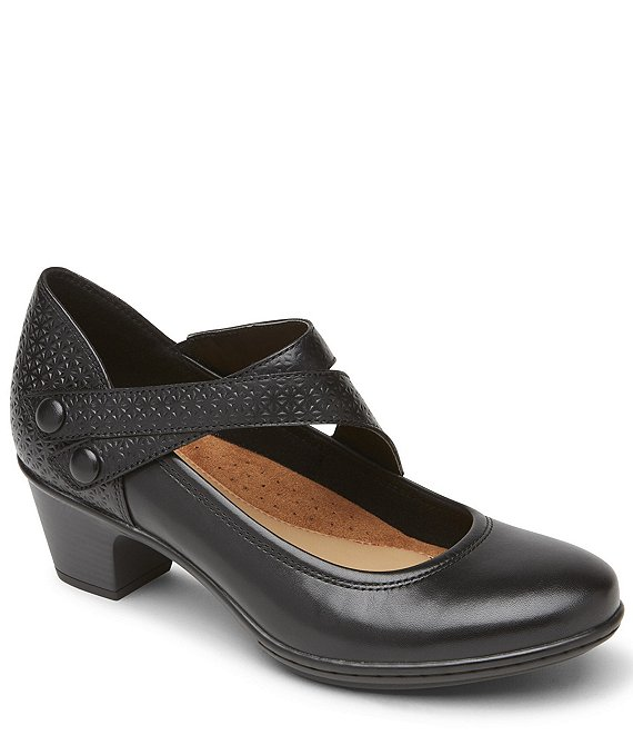 Color:Black - Image 1 - Cobb Hill Kailyn Asym Leather Block Heel Mary Jane