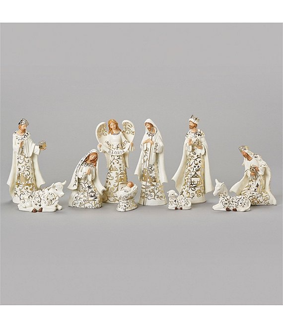 Roman Gold Leaf Papercut 10 Piece Nativity Set