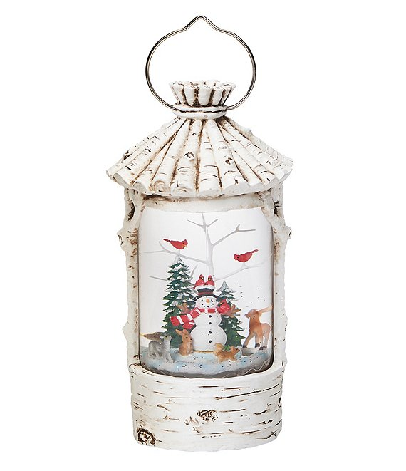 Roman LED Swirl Birch Casing Lantern
