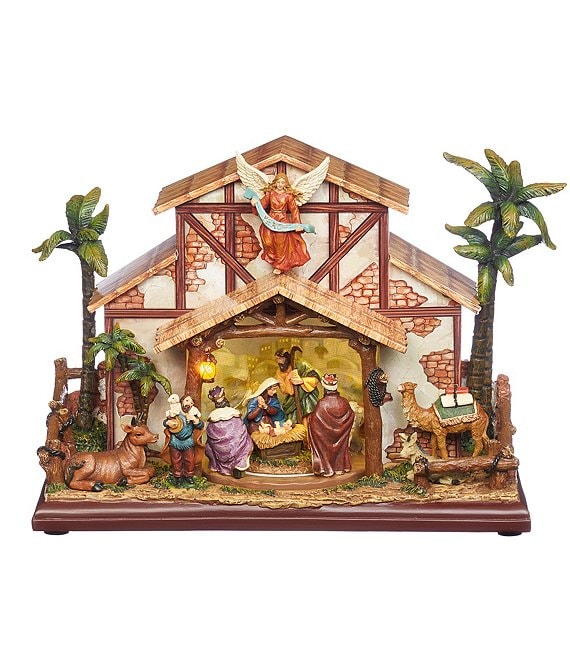 Roman Musical LED Nativity Stable Figurine