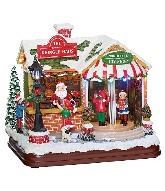Roman Santa's Musical LED Kringle Haus Toy Shop Figurine