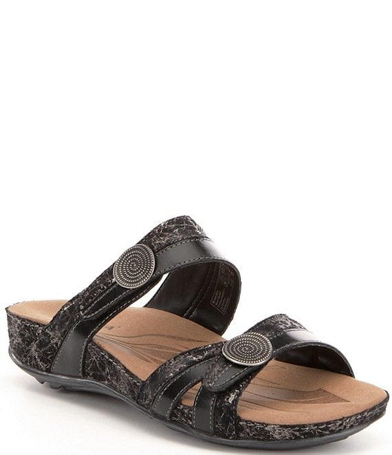 Color:Black Jam - Image 1 - Fidschi 22 Banded Snake Print Leather Slide Sandals