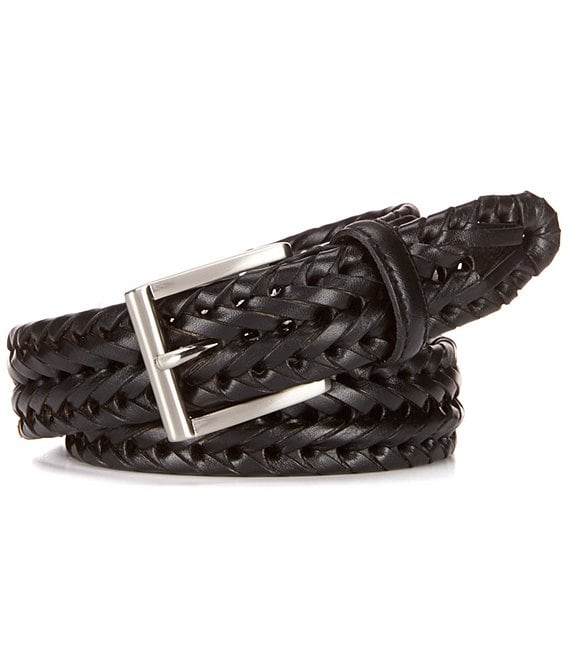 Color:Black - Image 1 - Big & Tall V-Braided Leather Belt