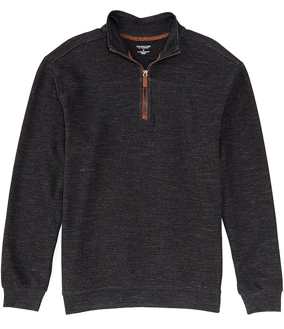 Color:Black - Image 1 - Big and Tall Long-Sleeve Quarter Zip Pullover