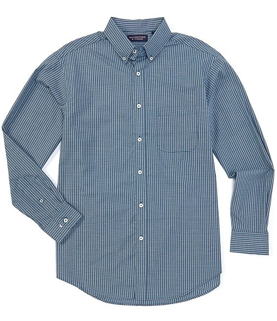 Color:Teal - Image 1 - Big and Tall Luxury Cotton Long-Sleeve Grid Checked Sportshirt