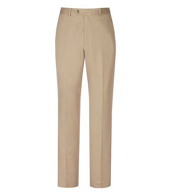 Color:Light Khaki - Image 1 - TravelSmart Non-Iron Flat-Front Ultimate Comfort Microfiber Stretch Dress Pants