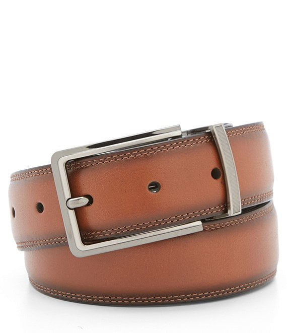 Color:Brown - Image 1 - Double Leather Reversible Belt