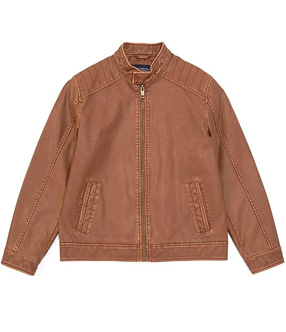 Color:Cognac - Image 1 - Faux-Leather Hipster Jacket