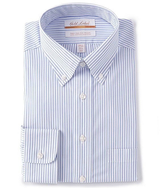 Roundtree & Yorke Gold Label Non-Iron Full Fit Button-Down Collar Multi-Color Striped Dress Shirt
